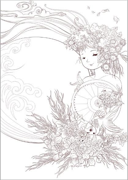 花神线稿-儿童插画