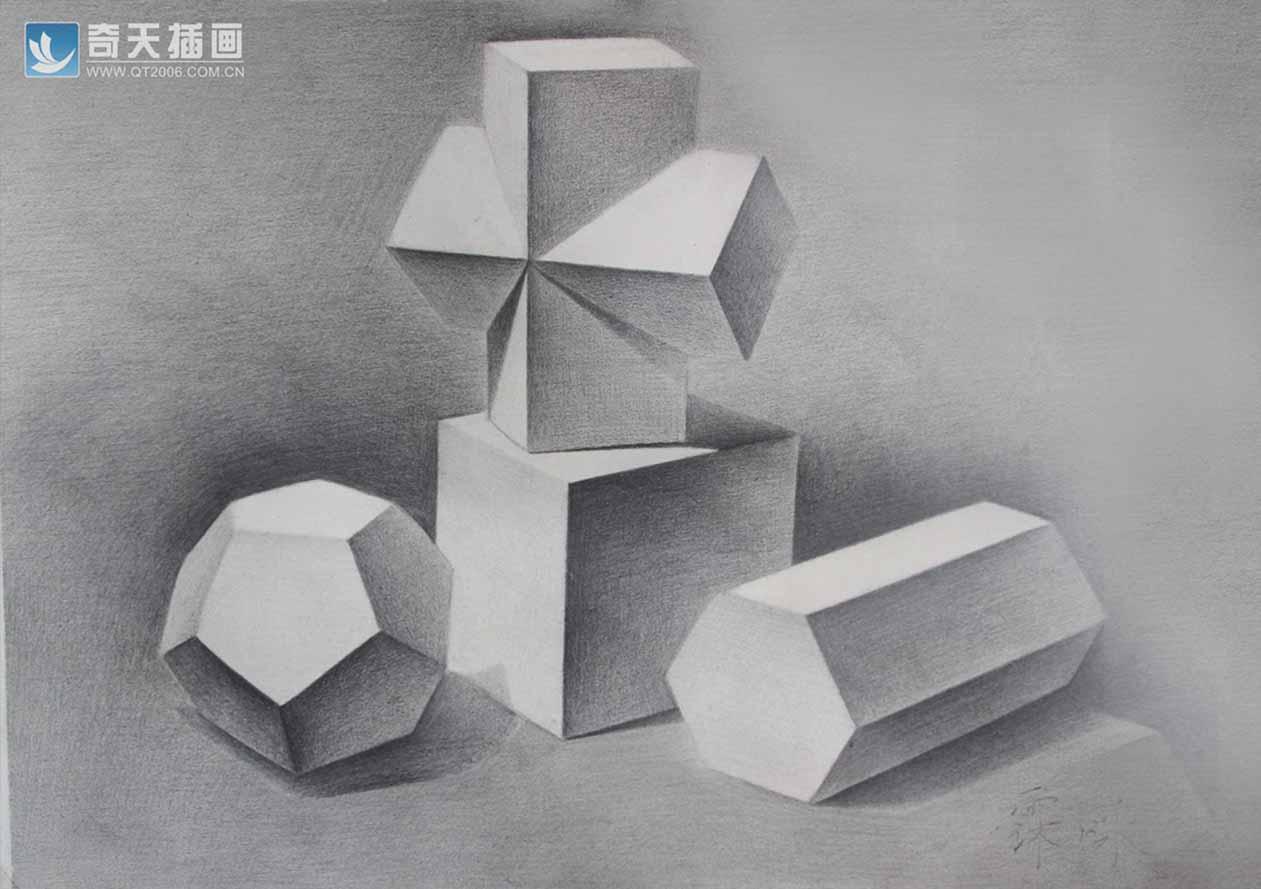 奇天插画学校几何体组合
